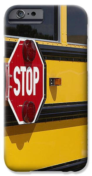 Stop Sign on a School Bus iPhone Case by Skip Nall