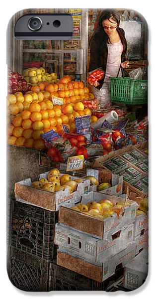 Storefront - Hoboken NJ - Picking out fresh fruit iPhone Case by Mike Savad