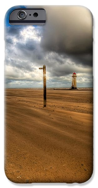 Lighthouse Sea iPhone Cases - Storm Brewing iPhone Case by Adrian Evans