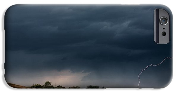 Approaching Storm iPhone Cases - Storm clouds and lightning along a Saskatchewan country road iPhone Case by Mark Duffy