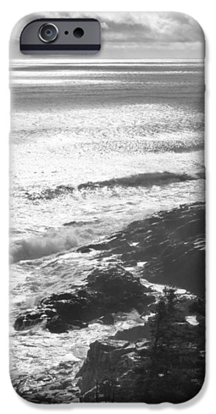 Maine iPhone Cases - Storm Hits Rocky Seascape of Acadia National Park Black And White Photograph iPhone Case by Keith Webber Jr