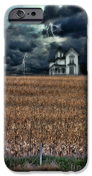 Winter Storm iPhone Cases - Storm Over Farmhouse iPhone Case by Jill Battaglia