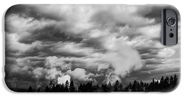 Heavy Weather iPhone Cases - STORM over FIREHOLE LAKE DRIVE iPhone Case by Daniel Hagerman