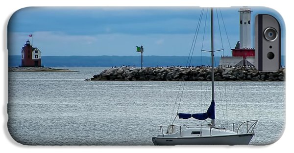 Best Sellers -  - Sailboat iPhone Cases - Storm Over Mackinac iPhone Case by Pamela Baker