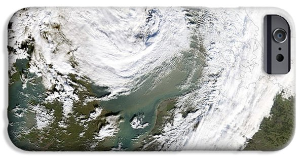 North Sea iPhone Cases - Storm Over Northern Europe iPhone Case by NASA / Science Source