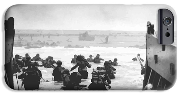 Battle iPhone Cases - Storming The Beach On D-Day  iPhone Case by War Is Hell Store