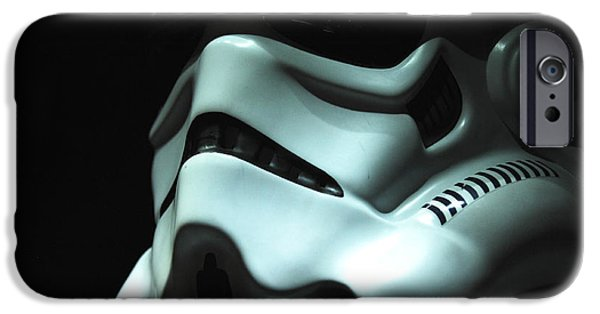 Helmet iPhone Cases - Stormtrooper Helmet iPhone Case by Micah May