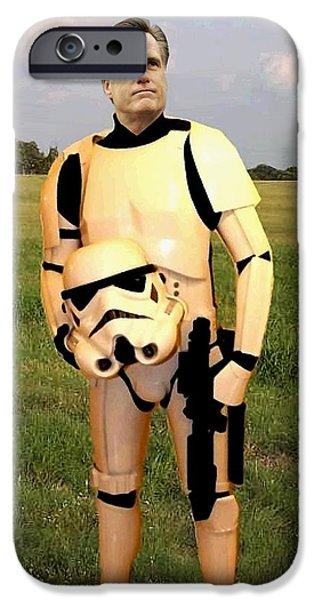 Mitt Romney iPhone Cases - Stormtrooper Mitt Romney iPhone Case by Paul Van Scott