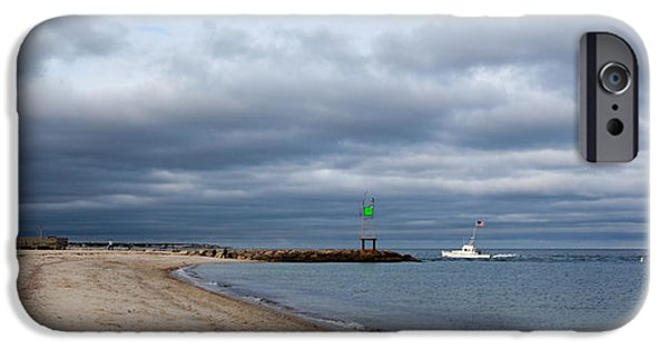 Storm Clouds Cape Cod iPhone Cases - Stormy Evening Bass River Jetty Cape Cod iPhone Case by Michelle Wiarda