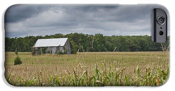 Maryland Barn Photographs iPhone Cases - Stormy Sky Over a Maryland Farm iPhone Case by Brendan Reals