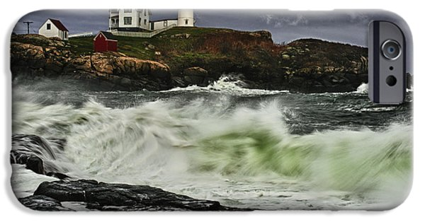 Cape Neddick Lighthouse iPhone Cases - Stormy Tide iPhone Case by Rick Berk