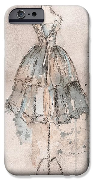 Painted Paintings iPhone Cases - Strapless Champagne Dress iPhone Case by Lauren Maurer
