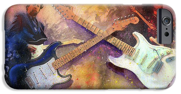 Musicians Paintings iPhone Cases - Strat Brothers iPhone Case by Andrew King