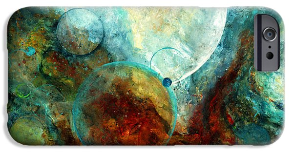 Outer Space Paintings iPhone Cases - Stratos iPhone Case by Laura Swink