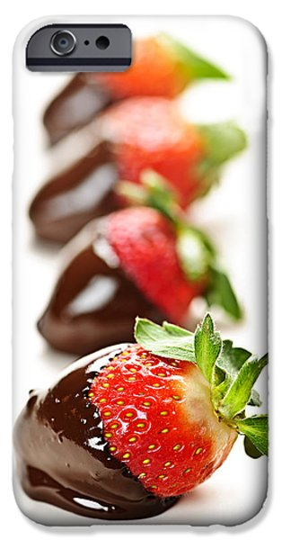 Strawberries iPhone Cases - Strawberries dipped in chocolate iPhone Case by Elena Elisseeva