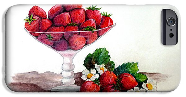 Botanical Pastels iPhone Cases - Strawberries  iPhone Case by Karin Best