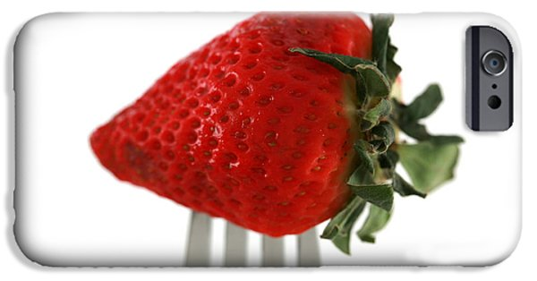 Covering Up iPhone Cases - Strawberry On A Fork iPhone Case by Michael Ledray