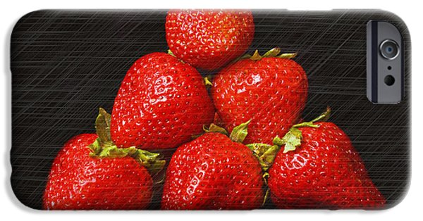 Berry Mixed Media iPhone Cases - Strawberry Pyramid On Black iPhone Case by Andee Design