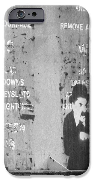 The Little Tramp iPhone Cases - Street Graffiti Art - the little Tramp bw iPhone Case by Kathleen Grace
