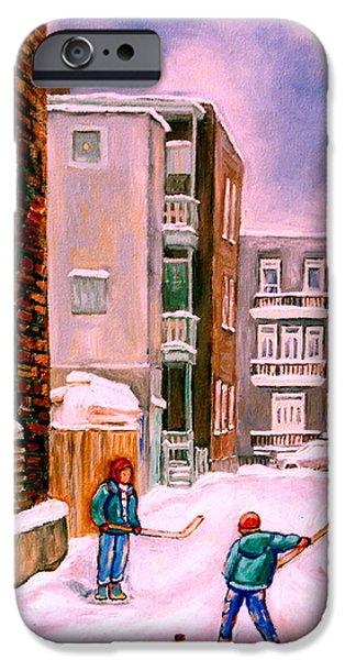 Snow Hockey Paintings iPhone Cases - Street Hockey In Laneway Montreal City Scenes iPhone Case by Carole Spandau