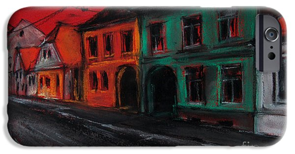 White House Pastels iPhone Cases - Street In Transylvania 1 iPhone Case by Mona Edulesco