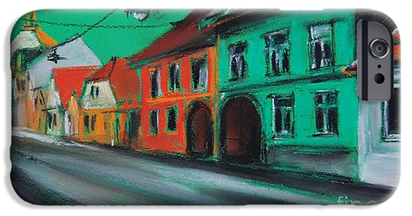 White House Pastels iPhone Cases - Street In Transylvania 2 iPhone Case by Mona Edulesco