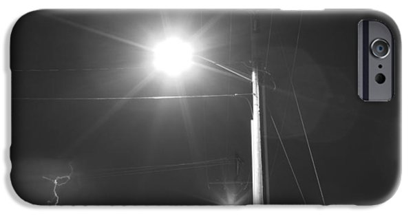 Lightning Images iPhone Cases - Street Light  Lightning in Black and White iPhone Case by James BO  Insogna