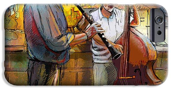 Charles Bridge Digital Art iPhone Cases - Street Musicians in Prague in the Czech Republic 01 iPhone Case by Miki De Goodaboom