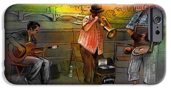 Charles Bridge Digital Art iPhone Cases - Street Musicians in Prague in the Czech Republic 03 iPhone Case by Miki De Goodaboom