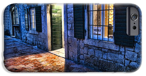 Store Fronts iPhone Cases - Street scene in ancient Kotor Montenegro iPhone Case by David Smith