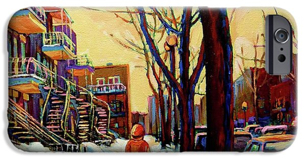 Heritage Montreal iPhone Cases - Streets Of Montreal Rue Debullion  Winter In The Plateau iPhone Case by Carole Spandau