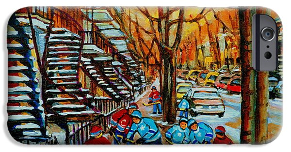 Montreal Artist Paints Verdun Street Scenes iPhone Cases - Streets Of Verdun Hockey Art Montreal City Scenes With Winding Staircases And Row Houses iPhone Case by Carole Spandau