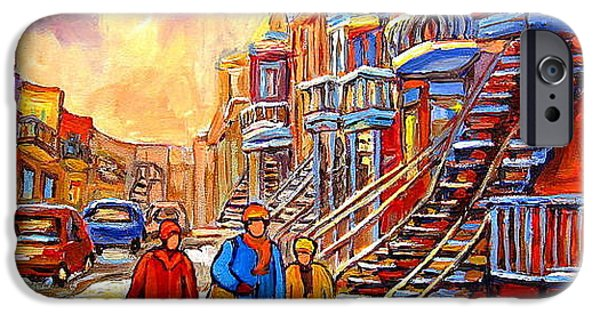 Canadian Culture Paintings iPhone Cases - Streets Of Verdun Montreal Staircase Painting   iPhone Case by Carole Spandau