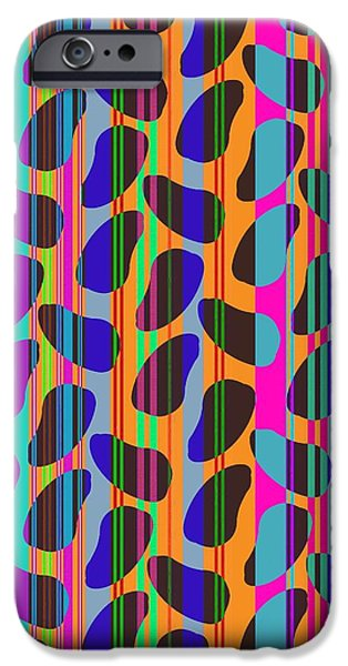 Stripes Digital Art iPhone Cases - Stripe Beans iPhone Case by Louisa Knight