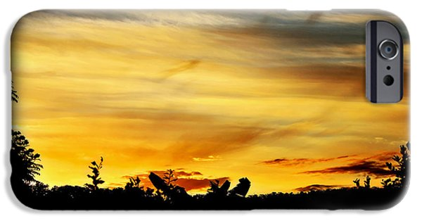 Colorful Cloud Formations iPhone Cases - Stripey Sunset Silhouette iPhone Case by Kaye Menner