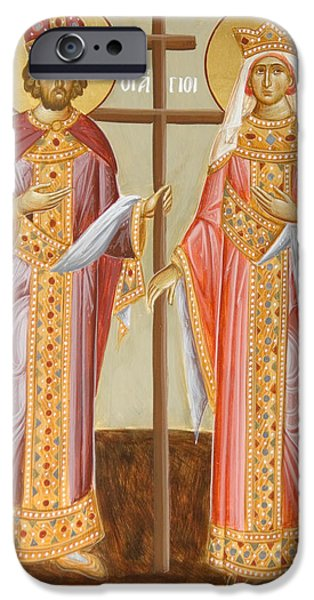 Sts Constantine And Helen iPhone Cases - Sts Constantine and Helen iPhone Case by Julia Bridget Hayes