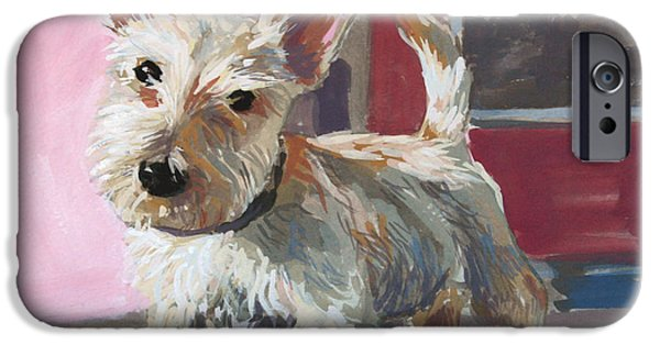 Scottish Terrier Puppy iPhone Cases - Stuart the Scotty iPhone Case by William Noonan