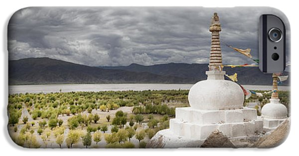 Tibetan Buddhism iPhone Cases - Stupas And Small Shrines iPhone Case by Phil Borges
