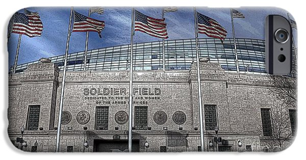 Soldier Field iPhone Cases - Stylized Soldier iPhone Case by David Bearden