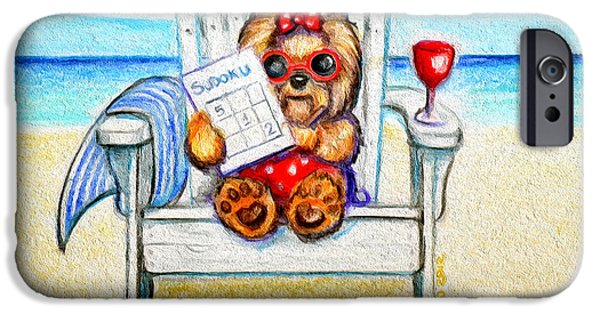 Yorkshire Terrier Watercolor iPhone Cases - Sudoku at the beach iPhone Case by Catia Cho