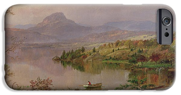 Hudson River iPhone Cases - Sugarloaf from Wickham Lake iPhone Case by Jasper Francis Cropsey
