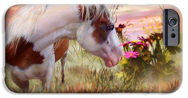 Art Of Horses iPhone Cases - Summer Blooms iPhone Case by Carol Cavalaris