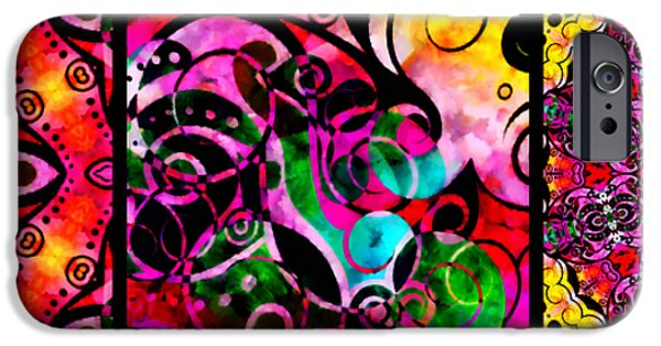 Graphic Design iPhone Cases - Summer Introspection Of An Extrovert Triptych Horizontal iPhone Case by Angelina Vick