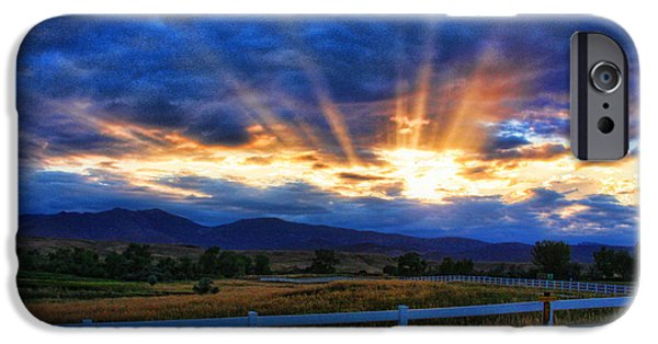 The Lightning Man iPhone Cases - Sun beams in the sky at sunset iPhone Case by James BO  Insogna