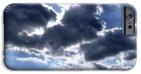 Sun Breaking Through Clouds iPhone Cases - Sun Breaking Through the Clouds iPhone Case by Mariola Bitner