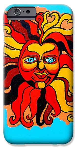 Cosmic Paintings iPhone Cases - Sun God II iPhone Case by Genevieve Esson