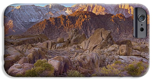 Mountain Photographs iPhone Cases - Sun Illuminating The Alabama Hills iPhone Case by Tim Fitzharris