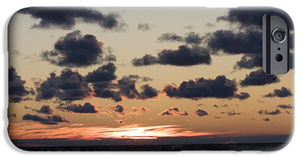 Best Sellers -  - Turbulent Skies iPhone Cases - Sun setting with dramatic clouds over Lake Michigan iPhone Case by Christopher Purcell