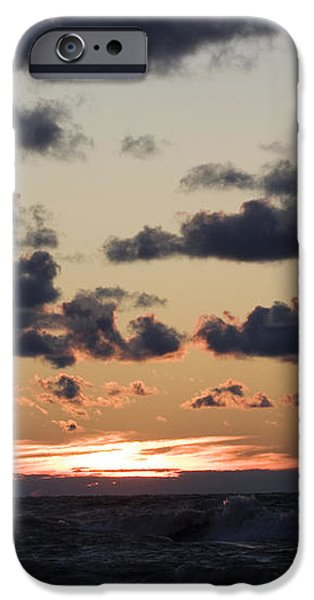 Sun setting with dramatic clouds over Lake Michigan iPhone Case by Christopher Purcell