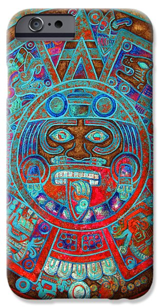 Original Art Mixed Media iPhone Cases - Sun Stone iPhone Case by Jose Espinoza
